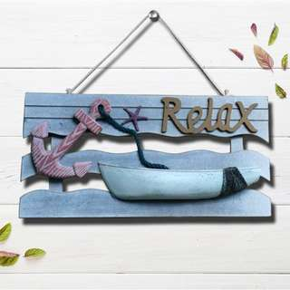 Relax Sign With Star Ship Jute Rope Wood