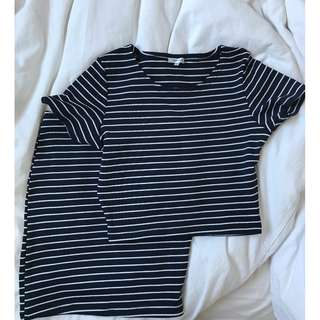 BNWT Matching Set Co-ord Navy and White Stripe Skirt And Top Size Small
