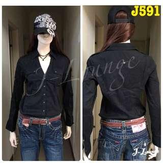 J591 美國氣質品牌express基本款條紋襯衫個性OL學院森女shirt J-Lounge