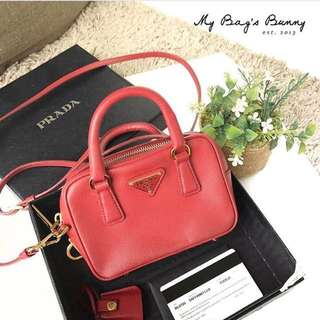 Used Prada BL0705 Saffiano lux mini pouch sling bag