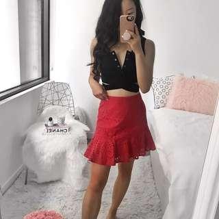 Red Asymmetrical Frill Skirt