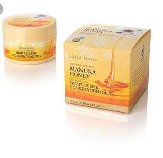 Wild ferns Manuka honey rebalancing night creme 100g (have oily n dry skin )