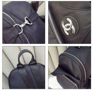Ransel Chanel  5182#v  Quality : Semi Premium Bag Size : 19x11x29cm Material : Black Nylon Lining - Inside Canvas Weight : 0.5kg Ready Black Colour Only    Price @180rb