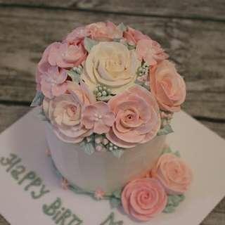 自家製四寸韓式唧花蛋糕