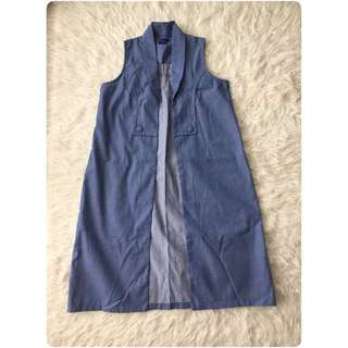 Long outer rompi vest denim