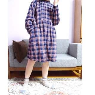 復古縮手格子洋裝