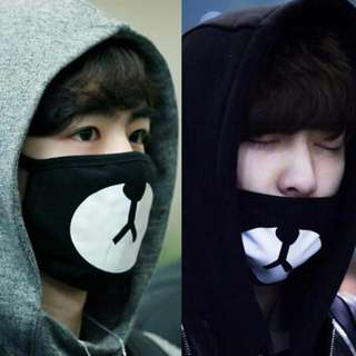 Black Kuma Mask Exo ChanYeol Mask Kpop Star Same Paragraph Mask