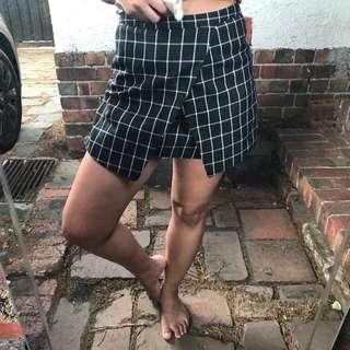 Black and White checked Skirt