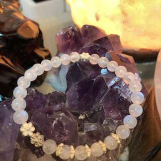 Natural Blue Lights Moonstones 925 Silver dividers and flowers bracelet 天然月亮石