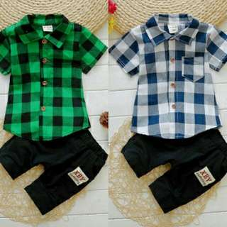 Plaid Short-sleeve Shirt with Kid Pants Set