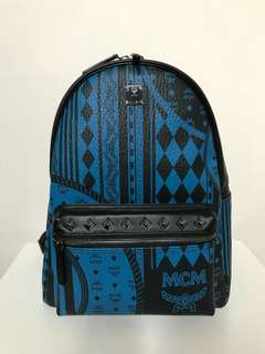 MCM Blue and Black Backpack