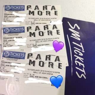 Selling: 3 Gen Ad Paramore tickets
