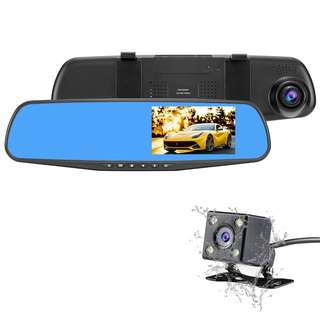 """NEXGADGET Car Dash Cam, 4.3"""" LCD FHD 1080p Dual Lens Car Camera Front and Rear DVR Video Recorder Vehicles Camera with Car Charger One USB Port  --  505"""