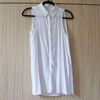White Sleeveless Button Up