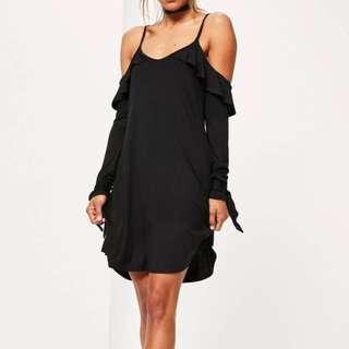 Missguided black cold shoulder dress
