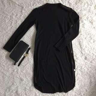 Black Knit Dress w Side Slit