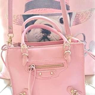 二手真皮粉紅色小機車包