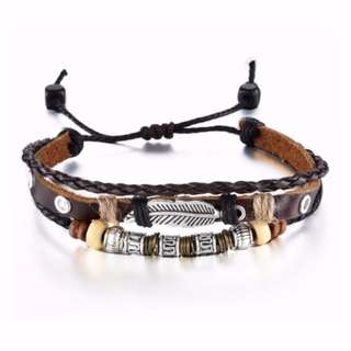 Men's Bronze alloy and cowhide bracelets