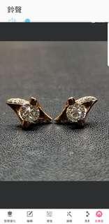 18K紅金鑽石耳環 GIA証書 L  l1 0.4oct  L  l1 0.40ct