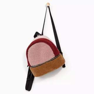 Zara Girls Mini Faux Shearling Backpack