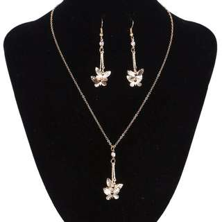 Jewelry Sets Crystal Butterfly Drop Earrings Choker Necklace