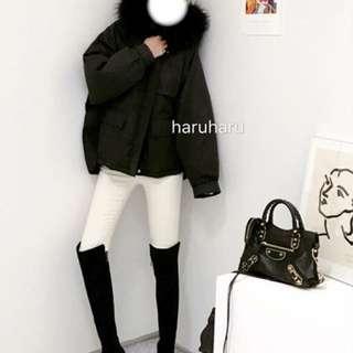 Haruharu購入 似羽絨外套 黑