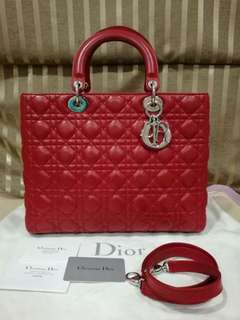 Authentic Lady Dior Red Lambskin SHW Large size