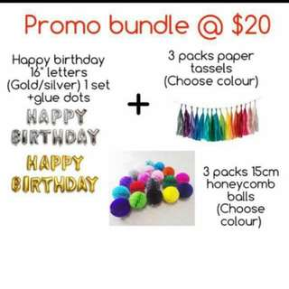 (11/1) Promotion Pack : Alphabet letters / paper tassels/ honeycomb balls Party Deco bundle ( birthday /baby shower / full month )