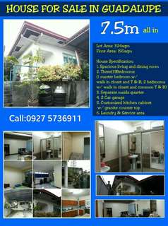 ____HOUSE AND LOT IN GUADALUPE FOR AS LOW AS 7.5 MILLION All in proceedings   Guadalupe Cebu City ___Bungalow House and lot Lot area: 324sqm.