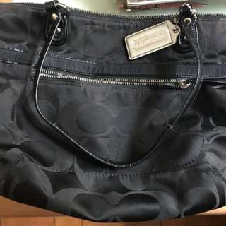 Coach handbag black monogram canvas, patent leather handles