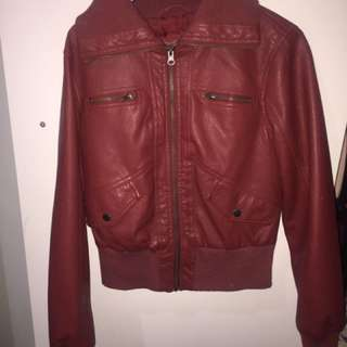 Red leather jacket size 10-12