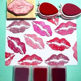 Lipstick Print Rubber Stamp