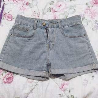 Faded Blue Vintage Cuffed Ripped High Waist Denim Shorts