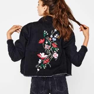 Bershka embroidered denim jacket