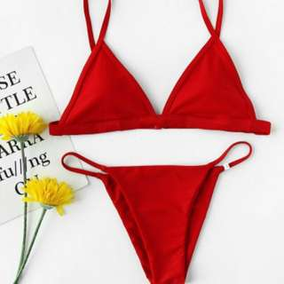 Red Triangle Beach Bikini Swimsuit Set