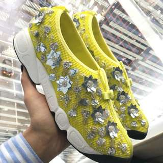 Dior Fusion Sneakers in Yellow Lime