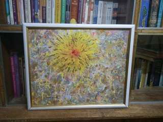 Abstract Painting with White and Gold Frame