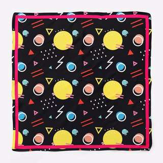 Black Scarf with Colorful Shape