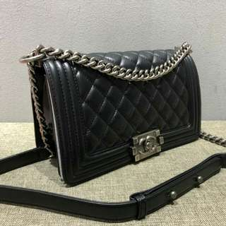 Chanel Boy Full Leather Lambskin With Silver Hardware