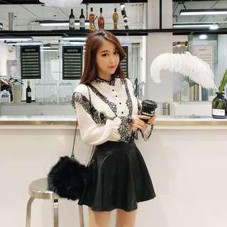 韓版時尚氣質雪紡蕾絲襯衫 春裝2018荷葉邊拼接喇叭袖復古元素 減齡顯瘦 約會裝