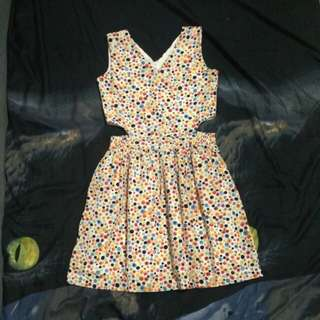 Polka Dress with cuts on side for Kids