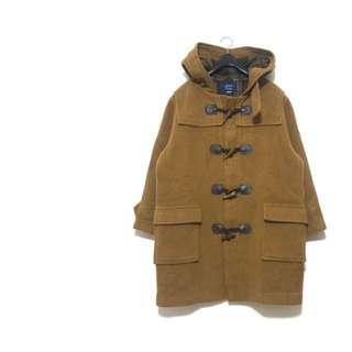 ☃️經典駝色絕美內裏格紋牛角釦連帽大衣外套 古着古著