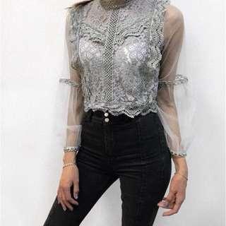 「新品推薦」韓版時尚百搭蕾絲鏤空透視網紗上衣