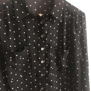 Guess Polka Dot Semi-Sheer Blouse Size L
