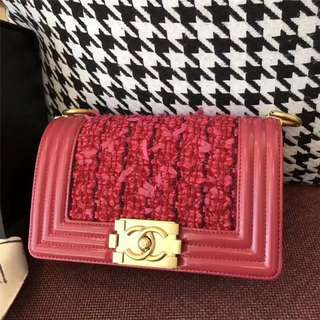 Chanel Le Boy Patent Tweed Flap