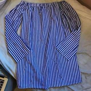 Pre-owned Zalora Stripes Shirt Dress