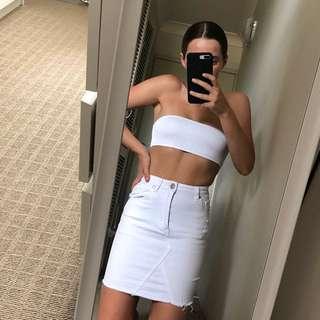 White Denim Skirt (2) // Princess Polly