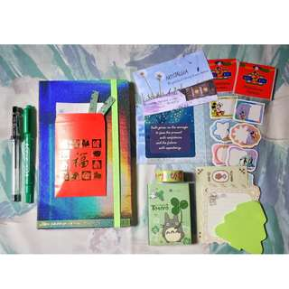 Miniso Dotted Notebook + Stationery Items