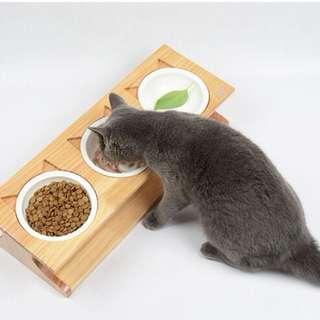 Ceramic food bowl for cat/dog (elevated)