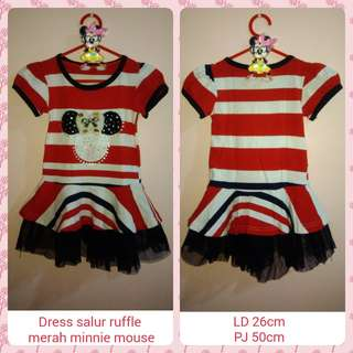 #ImlekHoki Girl Dress Salur Ruffle Minnie Mouse Merah Anak Perempuan